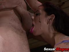 Mouth fucked bound latina slave