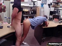 Geeky babe getting fucked hard at the pawn shop