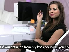 Female agent wanking dick in office on casting