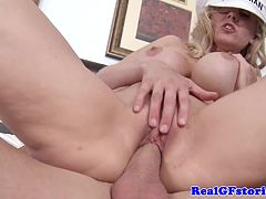 Big titted blonde housewife loving cock