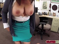 Brunette MILF Fucked inside the pawn shop office while she is selling her Collection