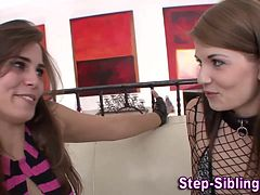 Hot teen lesbian stepsisters kissing
