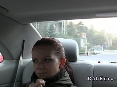 Redhead student fucked in fake taxi at night