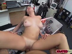 Brunette busty College babe  Fucked inside the pawn shop office while she is selling her Collection