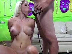 Big tits blondie gets her pussy tongued and gives a deep blowjob