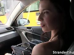 Sexy and Hot Brunette Elisabeth gets rescued by a Stranger on the street
