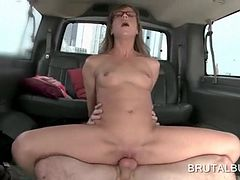 Teen with small tits in her sex bus dick humping scene