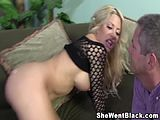 Big boob blonde makes her cuckold husband watch as she fucks a black man