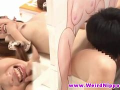 Asian teen fingered and licked by dude
