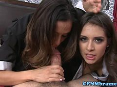 CFNM pornstars sucking his cock madly