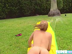 Blonde and cute Goldie Ortiz gets her pussy fucked at the poolside