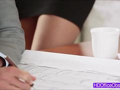 Sexy Secretary Vanessa Cage gets fucked at the desk of his boss
