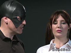 Masked master spanks his busty sub and ties her up