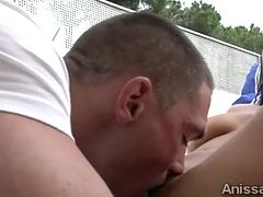 Young beauty with delicious ass gets a naughty massage outdoors