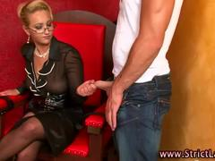 Hot mistress gets shoes licked
